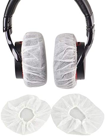 100Pcs White Non Woven Sanitary Headphone Ear Cover Disposable Super Stretch Covers Germproof product image