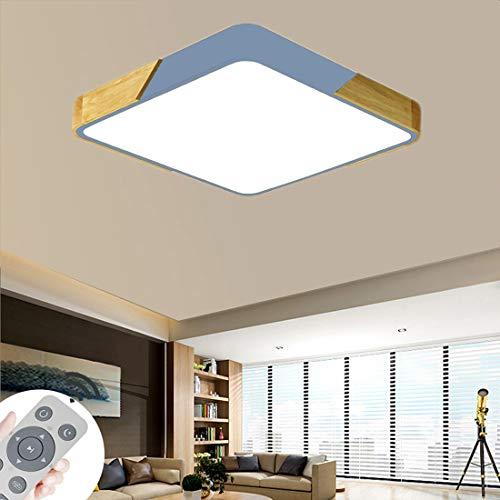 BFYLIN 60W Regulable LED Lámpara Madera Del Techo Lámpara De Techo Pasillo Salón Dormitorio De La Lámpara Ahorro De Cocina Ahorro De Energía Luz (Madera-Azul 60W Cuadrado)
