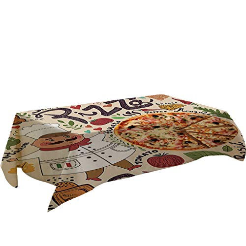 Fineday Pizza Table Cloth Linen Tablecloth for Kitchen Decorative Dining Table Cover, Home Textiles, for Christmas New Year (E)