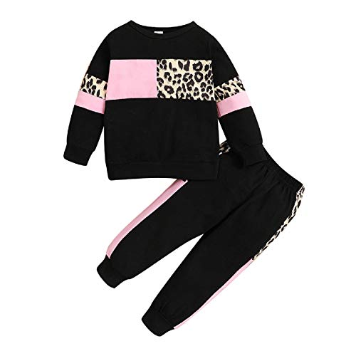 Borlai 2Pcs Baby Mädchen Leopard Trainingsanzüge Outfits Pullover Sweatshirt Hosen Kleidung Set 1-5 Jahre
