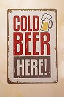 Cold Beer Here 注意看板メタル安全標識壁パネル注意マー表示パネル金属板のブリキ看板情報サイン