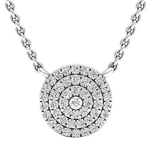 0.25 Carat (ctw) Round Diamond Flower Cluster Ladies Pendant 1/4 CT, 14K White Gold (0.25 Ct Diamond Necklace)