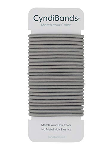 Cyndibands Gray No-Metal 4mm 1.75 Inch Elastic Hair Ties Color Match Ponytail Holders - 24 Count