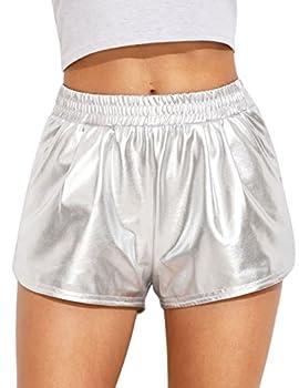 SweatyRocks Women Shorts Yoga Shorts Jogger Running Athletic Hot Shorts Silver Silver Large