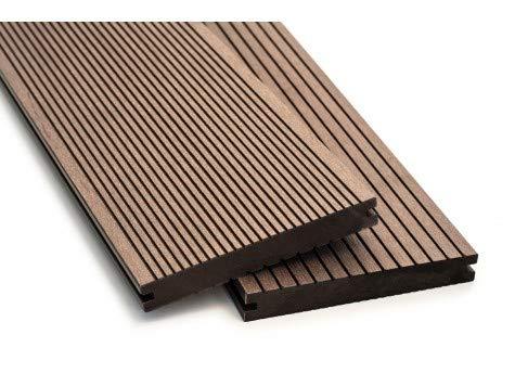 WPC Terrassendielen Breitdielen Massiv XL - Komplett-Set Dunkelbraun | 9m²(3m x 3m) | Boden-Fliesen + Unterkonstruktion & Clips | Balkon Boden-Belag + rutschfest + witterungsbeständig