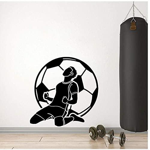 Portero Fútbol Fútbol Dibujos Animados Silueta Sala De Estar Dormitorio Pvc Etiqueta De La Pared 55X56Cm