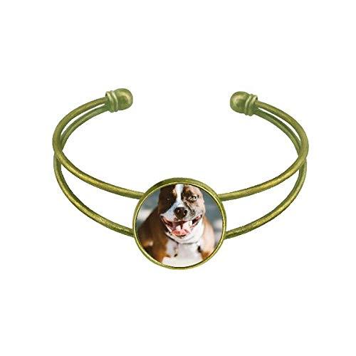 Bulldog mascota animal espantosa imagen Pulsera Brazalete Retro Joyas De Puño Abierto