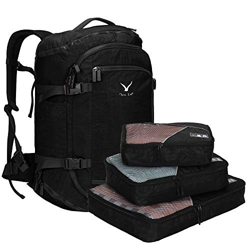 Hynes Eagle 45L Travel Backpack Flight Approved Carry on Backpack Weekender Cabin Hand Luggage Black with 3PCS Packing Cubes