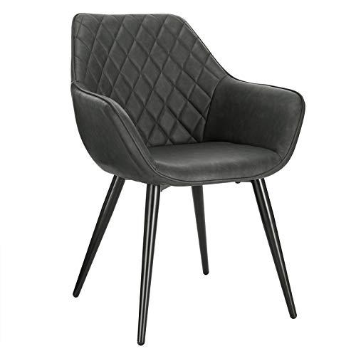 WOLTU Esszimmerstühle BH251an-1 1x Küchenstuhl Wohnzimmerstuhl Polsterstuhl mit Armlehen Design Stuhl Kunstleder Metall Anthrazit
