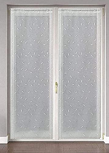 Coppia Tendine ricamate per Finestra e porta 60X150 - 60x240 cm - colore bianco - art.Flavia (60x240 cm)