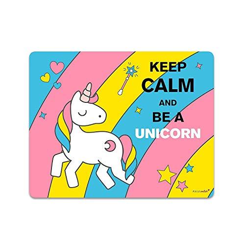 younikat Einhorn-Mousepad Keep Calm and be a Unicorn I dv_145 I 24 x 19 cm I Mauspad süß flach rechteckig rutschfest mit Einhorn-Motiv