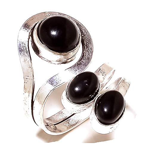 Black Onyx! Girls Ring, Sterling Silver Plated Handmade Art Jewelry! Full Variety Store for Wedding Anniversary Birthday Party Gift, Ring Size 6 US (Adjustable)