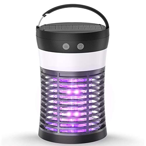 Mosquito Killer Lamp, ViViLarm Rechargeable Solar & USB Powered Bug Zapper, IP66 Waterproof Hanging Camping Lantern, Portable Insect Fly Pest Trap for Indoor Outdoor Backyard Patio Traveling Hiking