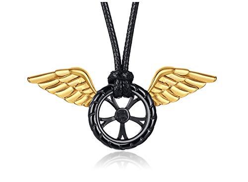 JXQICHEN Titan Stahl Halskette, Autoreifen Anhänger Herren Edelstahl Angel Wings Anhänger Herren Edelstahl Halskette Einfache Halskette mit einer schönen Box, Unisex