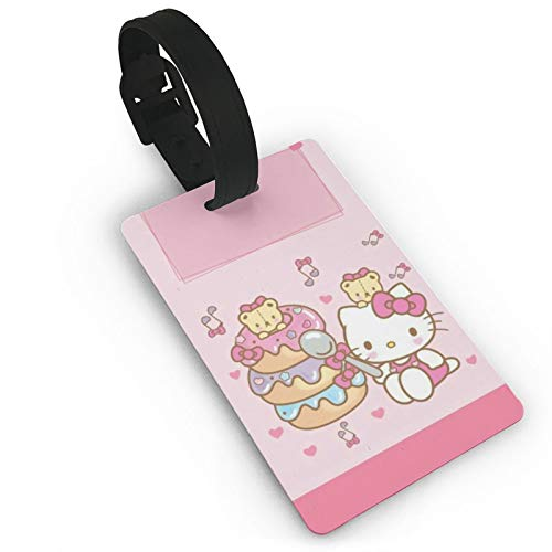 DNBCJJ Luggage Tags for Suitcases Hello oo Kitty Donuts Luggage Tag,with Name ID Suitcase Women Men's Children's Travel Accessories