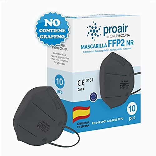 10 uds. Mascarillas FFP2 NR color fabricación 100% Española varios colores, Homologadas CE, EN 149: 2001+A1: 2009, 5 capas con filtrado de más del 95% - ProAir - FFP2 color Negro