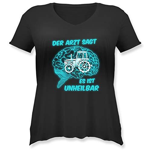 Landwirt - Der Arzt SAGT es is unheilbar Traktor - L - Schwarz - Bauer - JHK603 - Weit geschnittenes Damen Shirt in großen Größen mit V-Ausschnitt