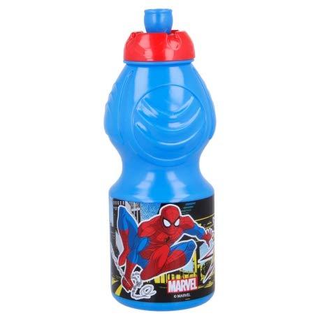 Borraccia Sport in plastica Bottiglia per Bambini 400ML con beccuccio retraibile (Spiderman)