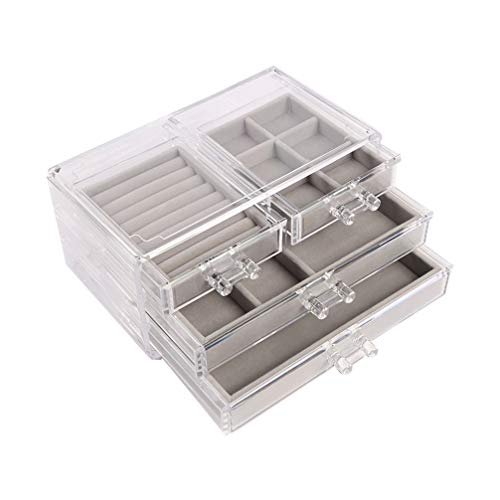 Holibanna Clear Acrylic Jewelry Box Caddy with 4 Drawers Divided Jewelry Organizer for Earring Necklace Ring Bracelet Clear and Rings Jewelry Display Storage Box
