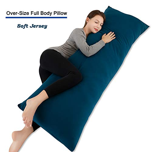 INSEN 55in Body Pillow-Full Body Pillow- Long Side Sleeping Body Pillow for Adult and Pregnancy-with Removable Body Pillow Cover (Navy Blue)
