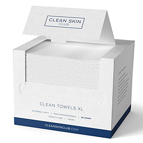 Clean Skin Club - Clean Towels XL   World's 1ST Biodegradable Face Towel   Disposable Makeup Removing Wipes   Dermatology Tested & Approved   Vegan & Cruelty Free   Super Soft for Sensitive Skin   50CT (50 Count (Single Box))