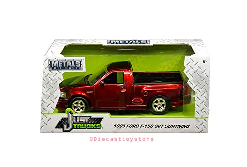 New DIECAST Toys CAR JADA 1:24 W/B - Metals - JUST Trucks - 1999 Ford F-150 SVT Lightning (Candy RED) 30357-MJ