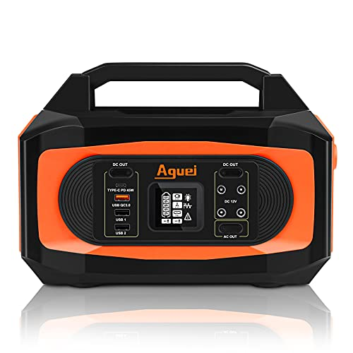 Aguei Portable Power Station,380Wh CPAP battery backup,Solar Charger,110V/400W Pure Sine Wave AC Outlet,Solar Generator,Portable Power For Camping,Outdoor Adventure Road Trip Emergency(Solar Panel not included)