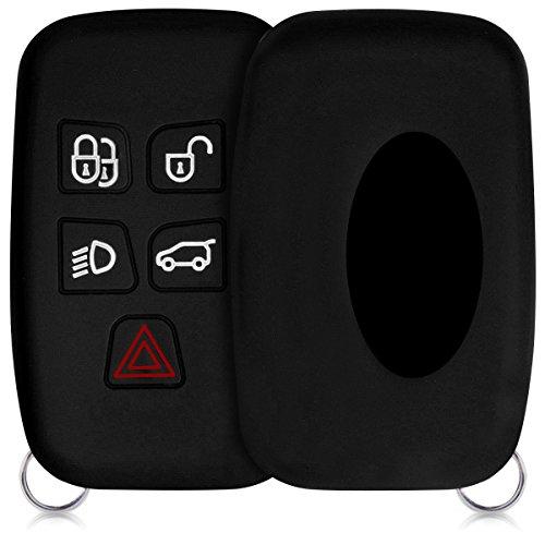 kwmobile Accessoire clé de Voiture Compatible avec Land Rover Jaguar 5-Bouton - Coque en Silicone Souple pour Clef de Voiture Noir