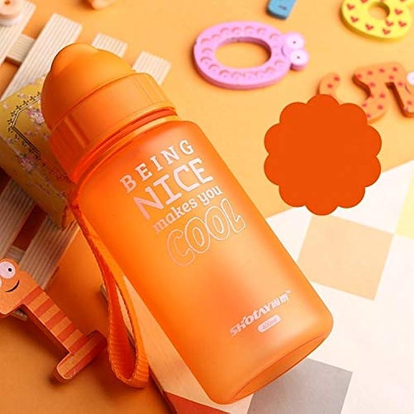反対に効率可愛いホームカップ 400ミリリットル哺乳瓶ポータブルロープこぼれ防止子供カップストロー付き飲料水子供用プラスチックボトル ホームカップ ( 色 : オレンジ )