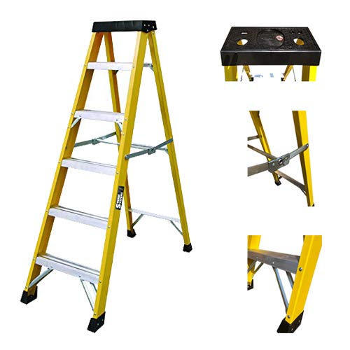 Sterk Systems 30000v Escalera de 6 Peldaños, de fibra de vidrio, para electricistas y trabajos pesados, GRP EN131