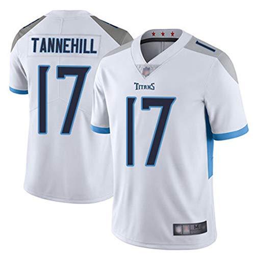 HS-FWJ.HW Tennessee Titans Tannehill # 17 Rugby Kurzarm Rugby Kurzarm Hemd Amerikanisch Rugby T-Shirt Sommer Baumwolle Kurzarm Top,Weiß,L