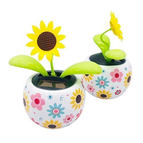 N/H 2PC Dancing Solar Toys Eco-Friendly Solar Powered Car Swinging Toy Solar Powered Dancing Flower Sunflower Office Desk & Car Decor