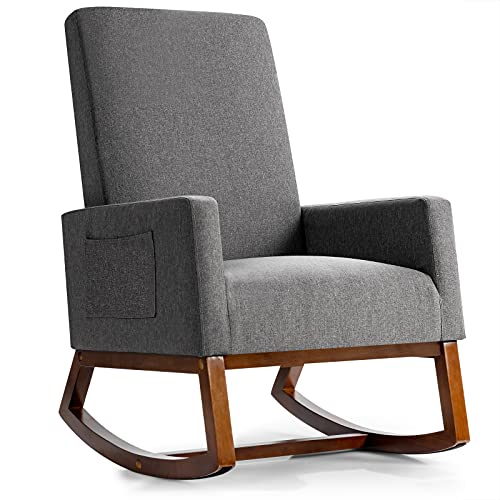 Giantx Upholstered Rocking Chair, Modern Fabric Armchair w/Wood Base, Side Pocket, Linen Padded Seat, High Back Accent Glider Rocker Chair, Mid-Century Leisure Chair for Nursery, Living Room (Gray)