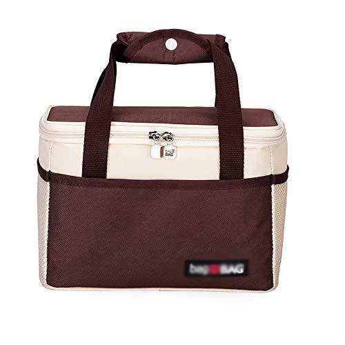 QJJML Sac à Lunch Pliant Compact/Paquet D'Isolation Feuille D'Aluminium éPais Chaud Portable Lunch Box ImperméAble à l'eau Et à l'huile,Brown