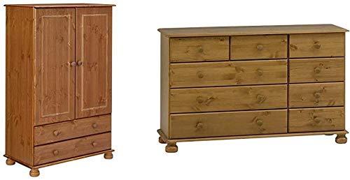 Kleiderschrank/Wäscheschrank 2 Türen 2 Schubladen 88 x 137 x 46 cm (B/H/T) Massive Kiefer lackiert-Gelaugt Lackiert_Kleiderschrank + Kommode 120 x 74 x 39 cm