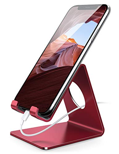 Lamicall Cell Phone Stand, Phone Dock : Cradle, Holder, Stand, Compatible with Phone 12 Mini 11 Pro Xs Xs Max Xr X 8 7 6 6s Plus 5 5s 5c All Android Smartphone Charging, Accessories Desk - Red