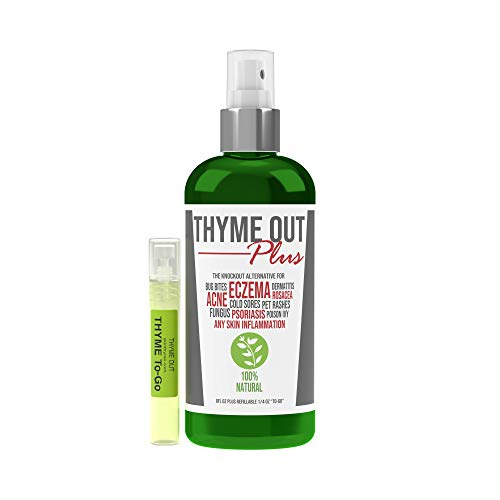 Thyme Out Plus for Eczema, Psoriasis, Acne, Dermatitis, Rosacea, Cold Sores, Pet Rashes, Bug Bites, Fungus, Poison Ivy, Any Skin Inflammation - 8oz Bottle Plus Travel Sprayer