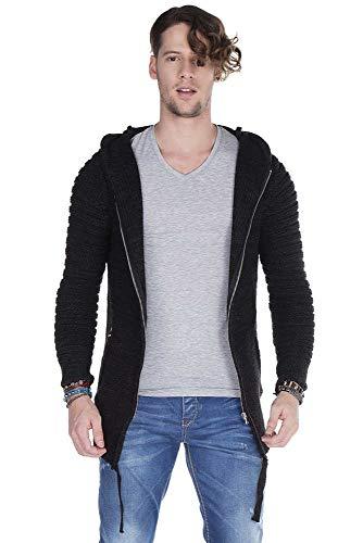 Cipo & Baxx Herren Grob Stick Woll Pullover Jacke 151 schwarz (M)