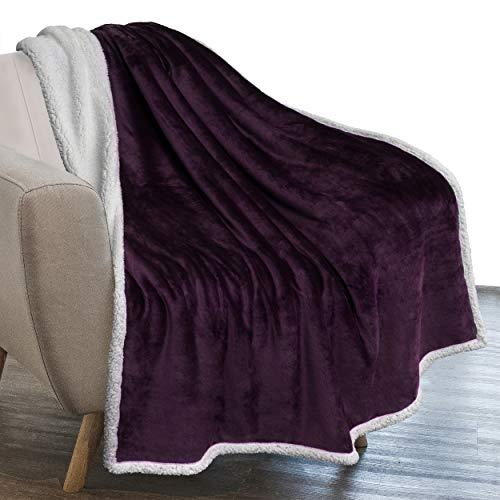 eggplant throw blankets PAVILIA Plush Sherpa Fleece Throw Blanket Purple Plum | Soft, Warm, Fuzzy Eggplant Throw for Couch Sofa | Solid Reversible Cozy Microfiber Fluffy Blanket, 50x60