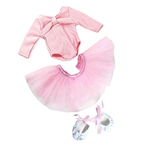 Sistema de Zapatos Flacos de Falda de Danza de Ballet para 18 Pulgadas Muñeca