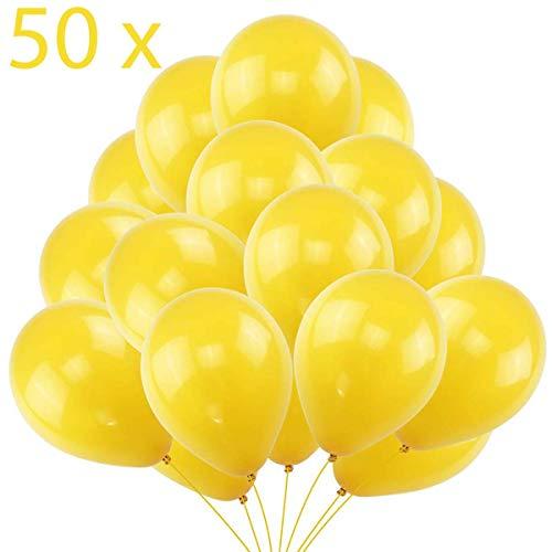 50 Globos Amarillos Brilante de Látex de 36 cm. Globo Amarillo por Helio de 3,2g. Decoraciones y Accesorios para Fiesta de Cumpleaño