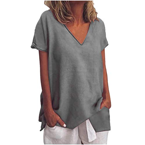 Tantisy ♣↭♣ Womens Tops Summer V-Neck Short Sleeve Solid Tee Fashion Swing Casual Flowy Loose Blouses Gray