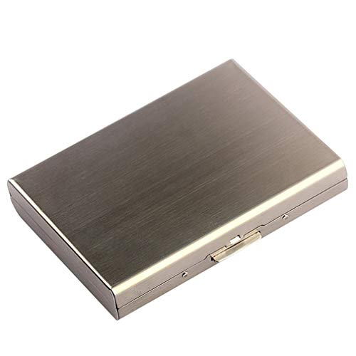 WEQQ Caja de Cigarrillos Multifuncional Anti-RFID/NFC de Acero Inoxidable para Hombres