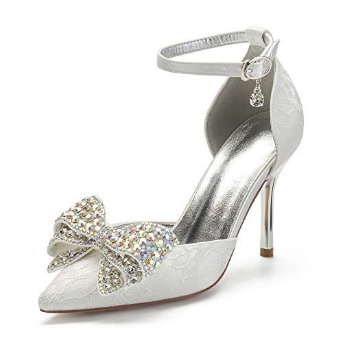 Gycdwjh Sexy Novia Tacones Altos, Asakuchi Cordón Zapatos de Novia para Mujer con Bowknot Decoración 9cm Zapatos de Tacón para Ropa de Banquete Diaria,Ivory White,35 EU