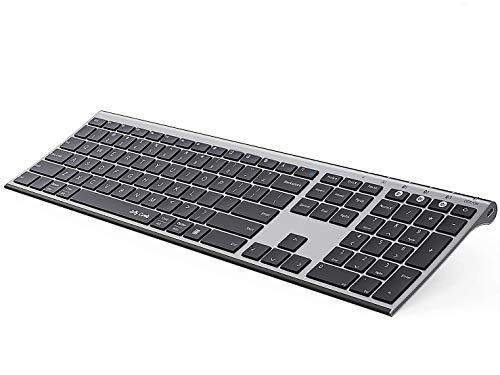 Multi-Device Bluetooth Keyboard, Jelly Comb Full Size Ultra Slim Rechargeable Wireless Bluetooth Keyboard Compatible for iPad, iPhone, MacBook, Android, Windows, iOS, Mac OS - Space Gray