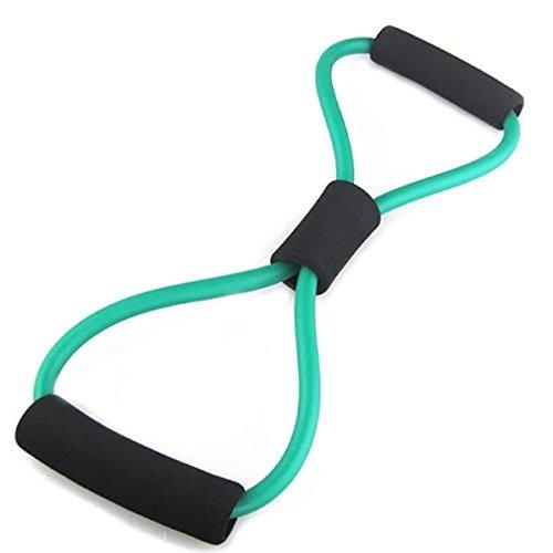 VORCOOL Bandas de Resistencia 8 Correa de Estiramiento en Forma de Tubo de Ejercicio con Cuerda para Ejercicio en casa (Verde)