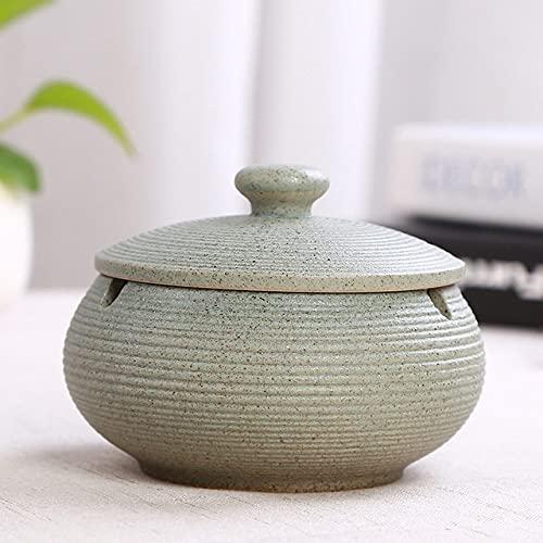 PIANYIHUO ceniceroCenicero de cerámica Cenicero negro grande sin humo con tapa Cenicero de color sólido para decoración del hogar Accesorios creativos para fumar, verde claro, B