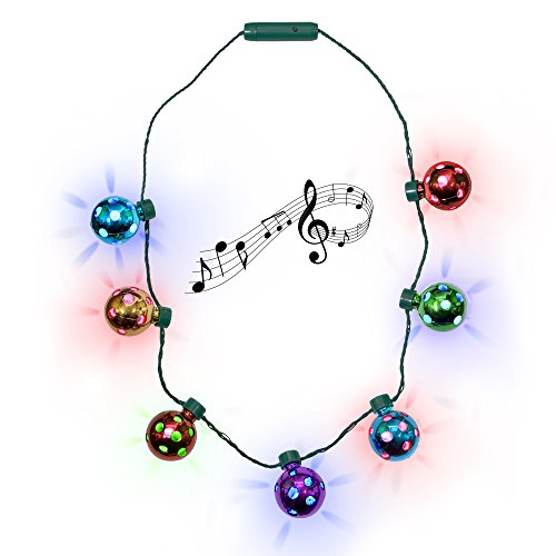 LED Holiday Jingle Bell Necklace for Kids and Adults