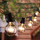 Outdoor String Lights 8.6 M / 28 Feet G40 Globe Patio Lights with 27 Edison Glass Bulbs (2 Spare), Waterproof Connectable Hanging Lights for Backyard Porch Balcony Party Decor, E12 Socket Base, Black