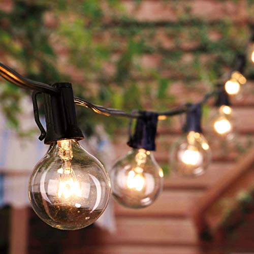Outdoor Garden String Lights 8.6 M/28 Feet G40 Globe Festoon Lights with 27 Edison Glass Bulbs (2 Spare), Waterproof Connectable Hanging Lights for Patio Backyard Porch Balcony Party Decor, Black